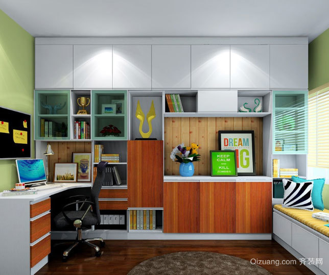 小户型现代简约风格书房榻榻米组合装修效果图