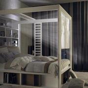 灯光下的卧室床图片