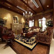 美式客厅自然木吊顶
