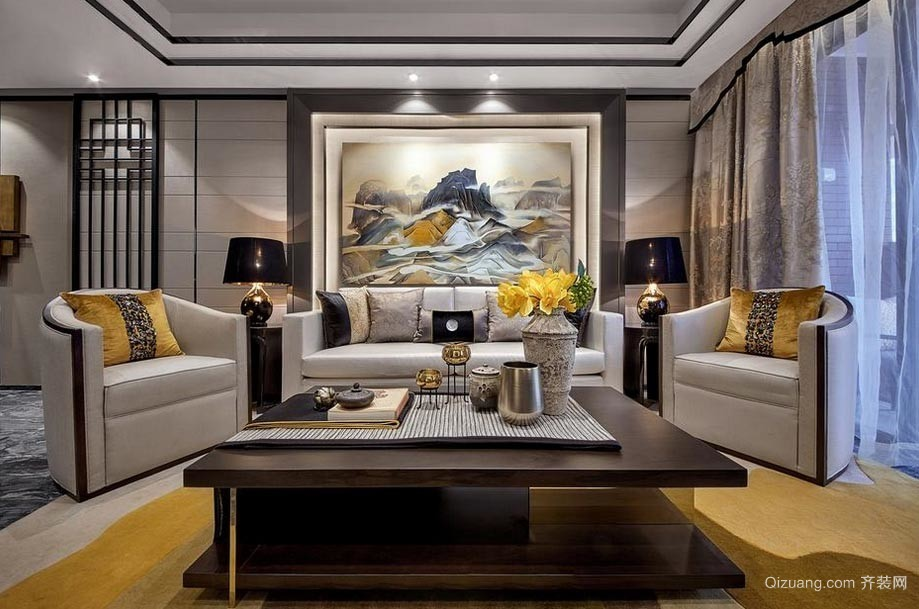 新中式古典三室一厅客厅装修效果图