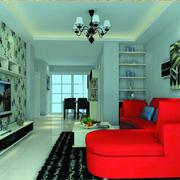 室内红色转角沙发