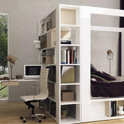 书柜床一体化的卧室展示