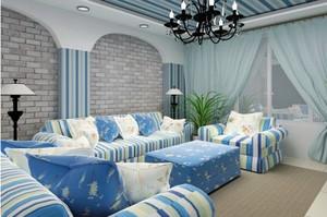 138平米居民房地中海风格遮阳帘装修效果图