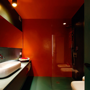 家居大气卫生间红色背景墙