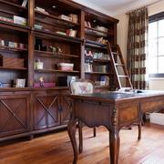 复式楼书房木质书架设计