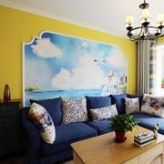 房屋清新自然客厅沙发背景墙展示