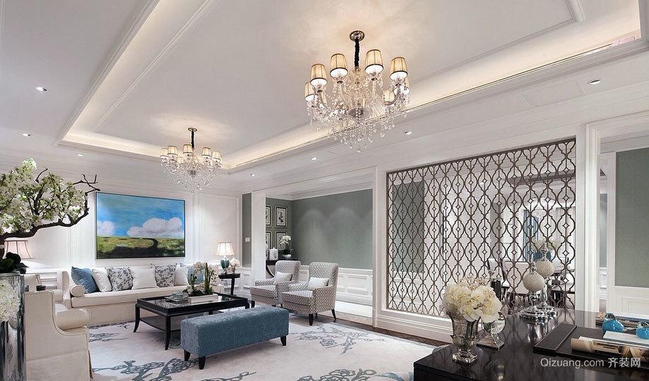 现代简约白蓝色清新迷人别墅装修效果图