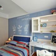公寓简约卧室蓝色背景墙展示