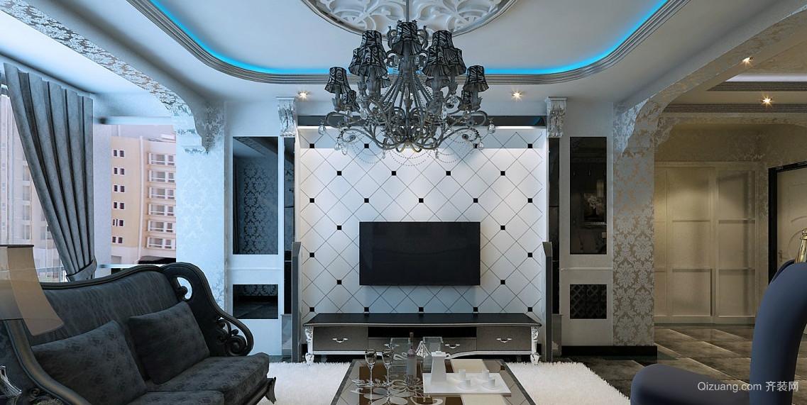 经典浪漫欧式客厅电视背景墙效果图