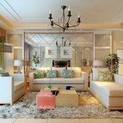 三室一厅现代简约客厅效果图