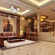 中式别墅客厅背景墙