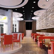 饭店红色餐桌椅