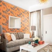 橙色沙发背景装饰