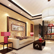 中式别墅客厅沙发背景墙