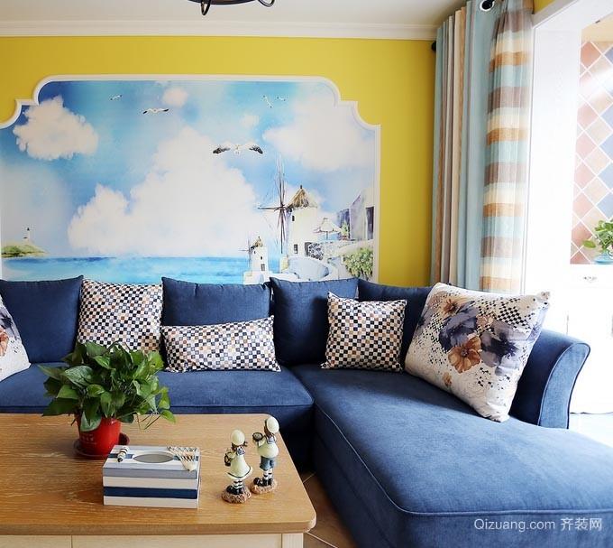 90平米轻快地中海风格房屋装修设计效果图