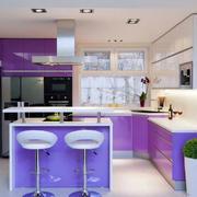 紫色的厨房橱柜设计