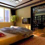 别墅中式卧室窗帘