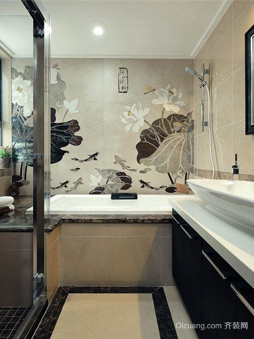 中西结合的混搭风格卫生间设计装修效果图