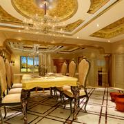 别墅豪华的餐厅布置
