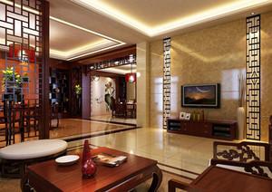90平米美感十足的中式客厅装修效果图鉴赏