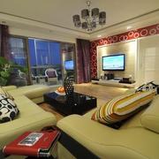 三室一厅客厅吊顶吊灯设计