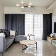 灰蓝色家居客厅窗帘装饰