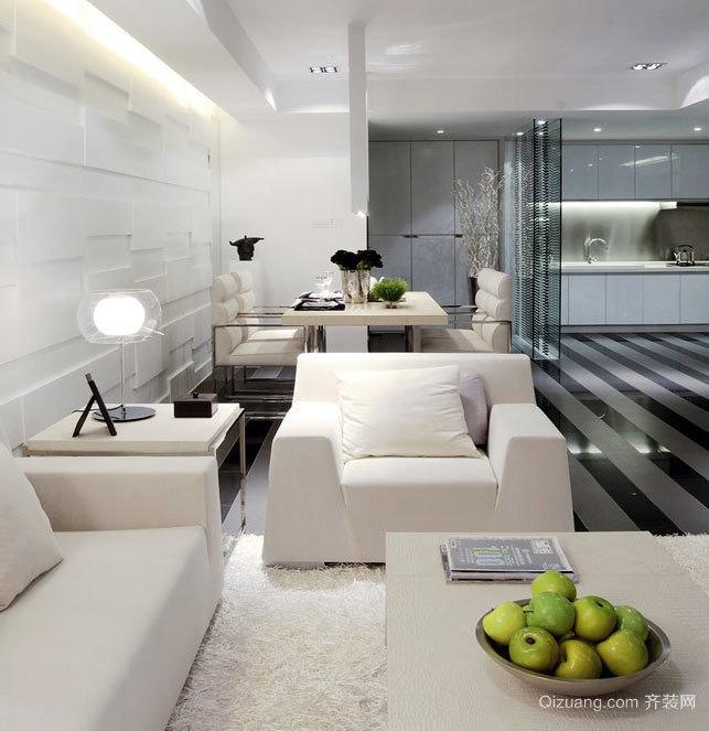 有品味男士黑白经典公寓室内设计装修效果图