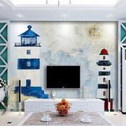 蓝白电视背景墙