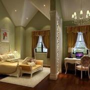 浅绿色卧室背景墙设计