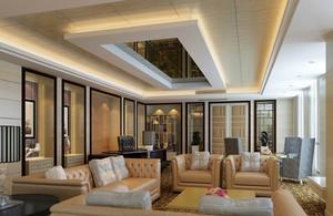 清新亮丽的别墅客厅吊顶装修效果图