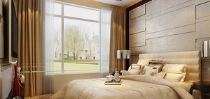 线条简约的卧室背景设计效果图