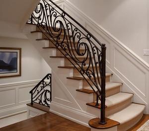 120平米朴实简约铁艺旋转楼梯装修效果图