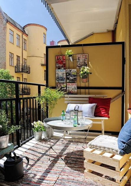 田园乡村风格的别致阳台花园设计装修效果图