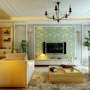 三室一厅客厅电视背景墙展示