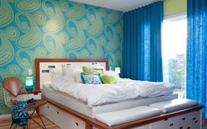 蓝色卧室背景壁纸