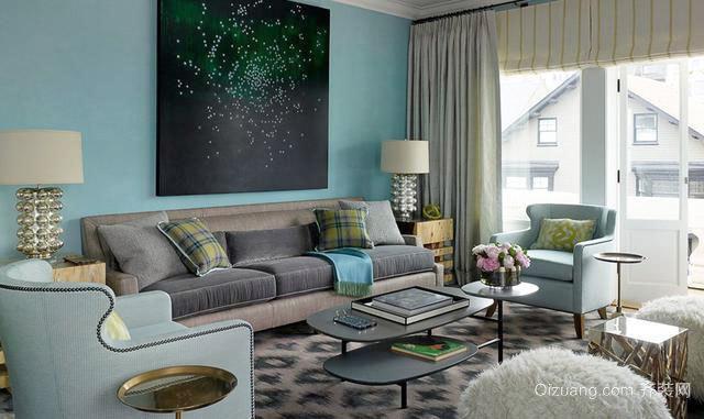 彰显高贵品味的100平欧式单身汉公寓精装效果图