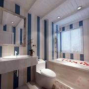 卫生间蓝白条纹墙壁