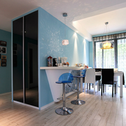 蓝白色的吧台设计