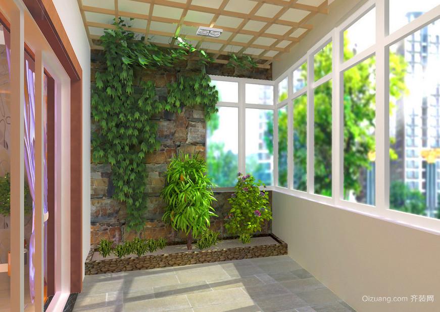 90平米二居式田园风格阳台装修效果图