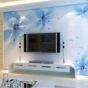 梦幻蓝白色电视背景墙