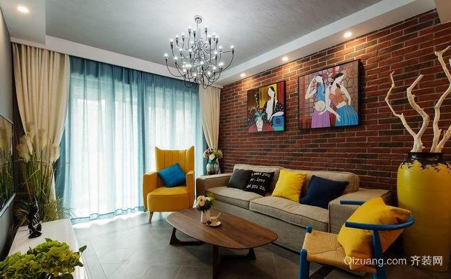 色彩诱惑 80平米缤纷的混搭风情房屋装修效果图