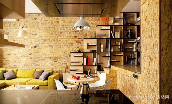 80平米彩色砖墙壁的创意温馨小公寓装修效果图