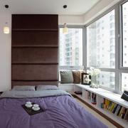 紫色榻榻米床设计