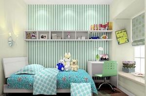 简约蓝色条纹儿童房装饰