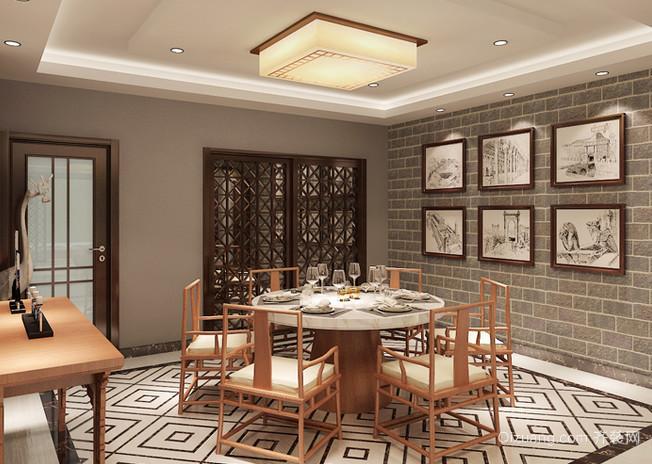 韵味十足的中式古典风格餐厅吊顶装修效果图