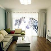 房屋客厅时尚窗帘展示