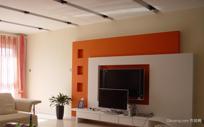 二室一厅朴素简约风格电视背景墙装修效果图