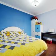 儿童房蓝色背景墙装饰