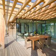 家居阳台木质餐桌椅设计