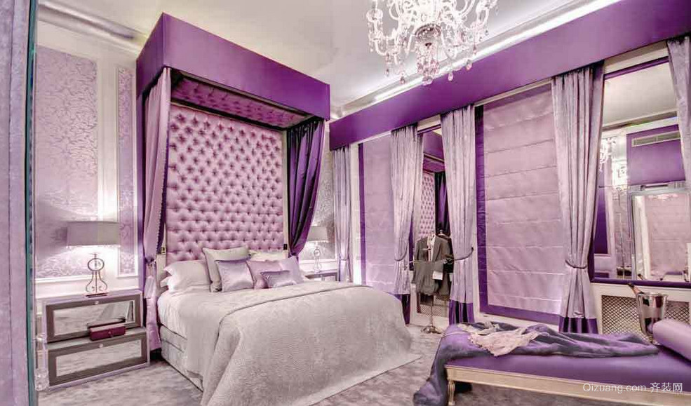 2015别墅神秘紫色卧室装修效果图